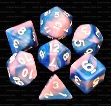 New 7 Piece Blue Pink Gemini Polyhedral Dice Set – Pink Bag – RPG D&D