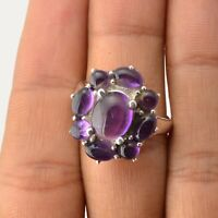Amethyst Gemstone Indian Handmade Jewelry 925 Solid Sterling Silver Ring Size 8