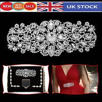 Diamante Motif Applique Rhinestone Sew on Wedding Silver Crystal 60mm x 50mm