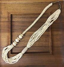 Vtg Antique Carved Bovine Bone Long Bead Necklace Art Deco Mid-Century Southwest