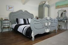 Handmade French Charroux Shabby Chic Double Bed In Mercury Grey & White