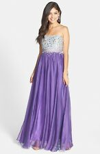 NEW! Sean Collection Embellished Bodice Chiffon Gown Purple [SZ 2] #D12