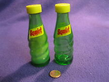 Vintage Clear Green Glass Grooved Squirt Pop Bottle Salt and Pepper Shaker    28