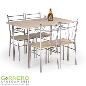 Set tavolo fisso e 4 sedie KRONOS laminato rovere struttura acciaio verniciato