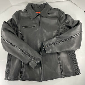 Milwaukee Leather by Shaf Black Motorcycle Jacket Mens 3XL Vented Zip Out Liner
