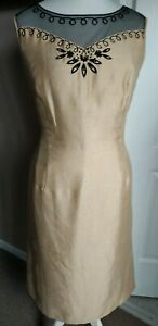 Gorgeous Jacques Very Gold Black Pencil Dress Size 16 Sleeveless Embroidered