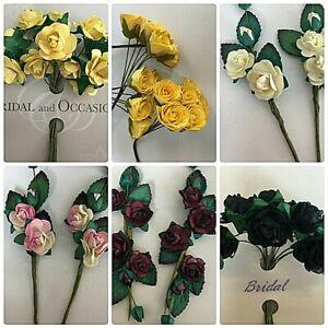 Roses Flowers With Stem Wedding Bride Bouquet Party Decor