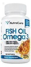 #1 Omega 3 Fish Oil - 2500mg Serve = 860 EPA 650 DHA - 180 Lemon Flavor Burpl...
