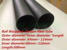 3K Carbon Fiber Rolled Tube/Pipe  OD 64mm 80 84 90 94 100 104 114mm x 500mm  -UK