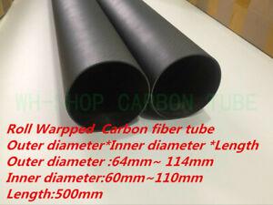 3K Carbon Fiber Rolled Tube/Pipe OD64 80 84 90 94 100 104 114mm L500mm Poles -UK