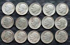 Lot of 15x USA Roosevelt Silver 10 Cent Dimes - Dates: 1946 to 1962