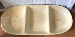 New Beginnings Live Laugh Love Divided Serving Tray Dish Fruit Appetizer Beige