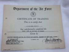 Vintage United States Air Force Certificate of Training 1960 24984 Department