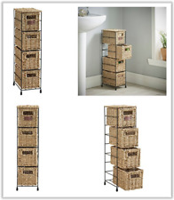 Storage Tower Unit 4 Tier Seagrass Baskets Drawer Bedroom Bathroom Office Draws