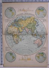 1891 ANTIQUE MAP ~ EASTERN HEMISPHERE AFRICA ASIA MOUNTAINS VEGETATION