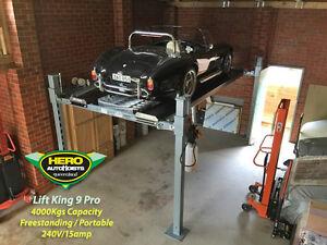 "LIFT KING ""9-PRO"" 4.0T PORTABLE COMMERCIAL 4-POST CAR HOIST by Hero Hoists Qld"
