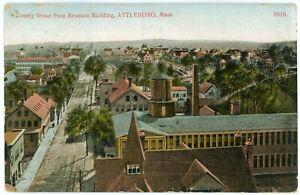 Postcard - Attleboro, Massachusetts, County Street from Bronson Bldg. - 1909