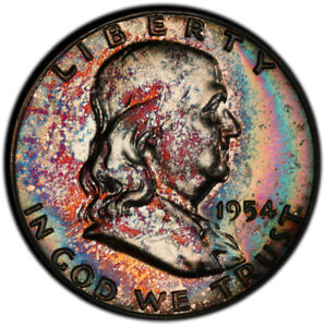 PR64 1954 50C Franklin Silver Half Dollar Proof, PCGS Secure- Rainbow Toned