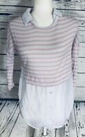 Deb Women's Small Blouse 3/4 Sleeves Knit Top Chiffon Bottom Striped Pink White