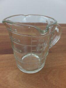 Vintage DEPRESSION Glass Clear Measuring Jug 8 Oz 1 Cup Three Spouts