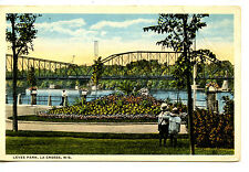 Levee Park-Scenic Water View-Bridge-La Crosse-Wisconsin-Vintage Postcard