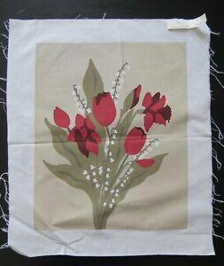 VTG Marushka floral tulips spring Screen Print Unframed Art fabric Canvas? (L18)