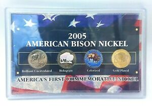 2005 American Bison Nickel 4 Coin Set ~ Hologram, Colorized, Gold Plated