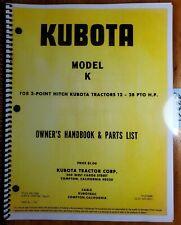Kubota Model K 32 40 50 Rotary Tiller For 3 Point 12 28 Pto Tractor Oper Manual