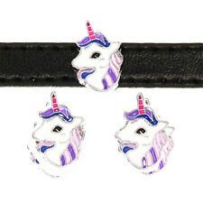 Wholesale 5pcs 8mm unicorn horse Slider Charm Fit 8MM DIY Wristband / Pet Collar