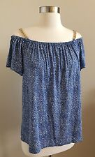 NWT$99.50 MICHAEL KORS Women's Blue/White Top with Chain Size L