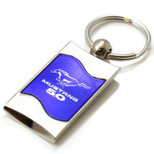 Premium Chrome Spun Wave Blue Ford Mustang 5.0 Genuine Logo Key Chain Fob Ring