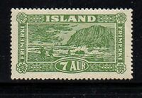 Iceland Sc 144 1925 7 aur yellow green Landing the Mail stamp mint Free Shipping