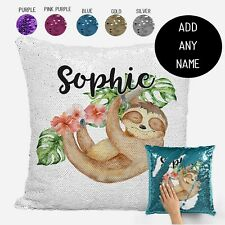 Sloth Cushion Throw Pillow Cover -  Personalised Sequin Cushion Cover Gift