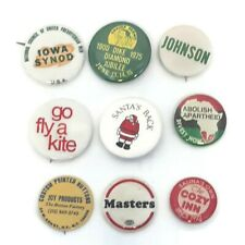 Vintage Pinback Button Lot Of 9 Mixed Theme Pins/Buttons Collectable Pins D5