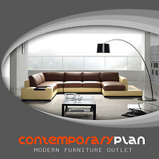 Contemporary Brown and Yellow Leather Sectional Sofa with Built in Light & Table