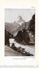 Antique print  Visp Thal Switzerland Matterhorn 1932 stich