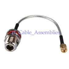 N jack female Bulkhead to SMA male RF pigtail Semi-Flexible cable RG402 15cm