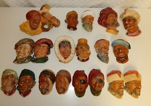 Collection of 19 Mainly Bossons Character Heads Wall Masks Plaques