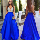 Womens Sleeveless V-Neck Sequin Ball Gown Evening Cocktail Prom Party Sexy Dress