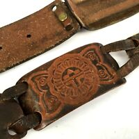 "FOSSIL Tooled Leather Brown Sectioned Brass Buckle Belt 31-35"" Large Pieced"