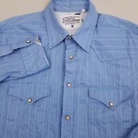 GUESS Men's Pearl Snap Western Shirt Long Sleeve Size Medium Striped Blue