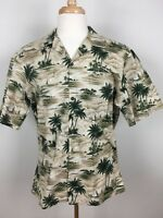 Vintage Hawaii Brand Mens Aloha Hawaiian Shirt Size Large 100% Cotton Palm Trees