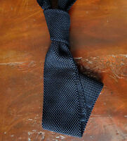 Navy Blue Knit Tie - Pure Silk - 6.5 cm/ 2½ Inches - Slim - Flat End