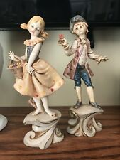 Rare Vintage Italy Depose Hand Painted Figurines Mold 275 Boy Girl Flower