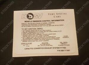 Suits Holden HSV VR VS GTS Senator Clubsport - Engine Emission Decal Sticker V8