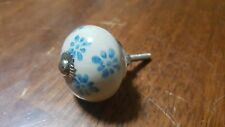 Hand-made Hand-painted Ceramic Drawer Knob - White with light blue flowers - S66