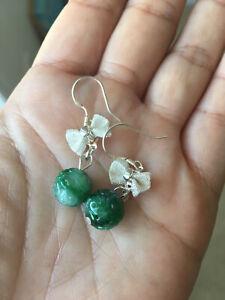 Certified Grade A Jadeite Jade Hand Carved Beads Earrings 925 Silver Bowtie