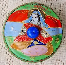 VINTAGE 1920's-1930's HAND PAINTED CERAMIC LIDDED TRINKET BOX - MADE IN JAPAN