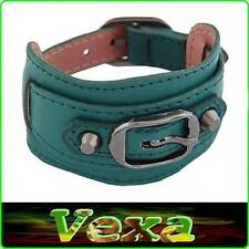 RETRO Dark Olive Green Unique Leather Bracelet for Ladies Wristband Bangle surf