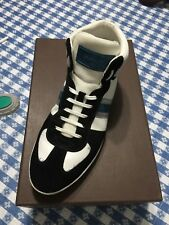 louis vuitton black suede and white leather high top sneakers (Multicolored)